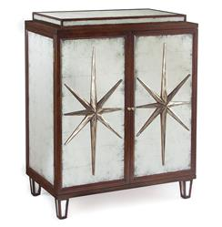 Sorell Hollywood Regency Espresso Silver Leaf Mirrored Star Bar Sideboard