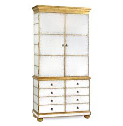 Abella Hollywood Regency Silver Leaf Mirrored Gold Media Cabinet | Kathy Kuo Home