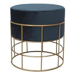 Ayla Hollywood Regency Dark Blue Upholstered Gold Iron Round Stool