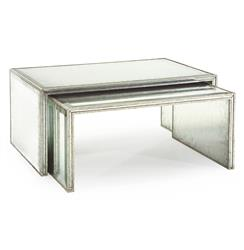 John-Richard Jasmine Hollywood Regency Silver Leaf Mirror Nesting Coffee Table - Set of 2