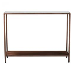 Cleverly Modern Classic White Marble Top Bronze Iron Console Table