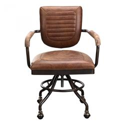 Colin Industrial Loft Brown Leather Black Steel Office Chair | Kathy Kuo Home