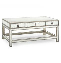 Lago Hollywood Regency Silver Leaf Mirror 6 Drawer Coffee Table