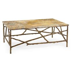 John-Richard Sun Valley Rustic Lodge Antique Gold Marble Branch Coffee Table