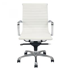 Shane Modern Classic White Upholstered Channel Tufted Steel Office Chair