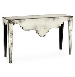 Evangeline Hollywood Regency Antique Mirror Scalloped Console Table