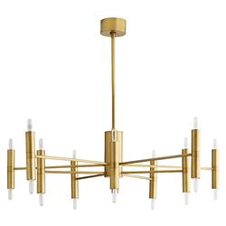 Arteriors Bozeman Mid Century Modern Antique Brass Steel Candle Chandelier