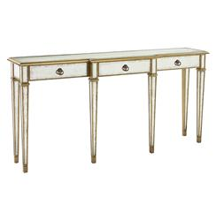 John-Richard Frances Hollywood Regency Silver Leaf Mirror Gold Console Table