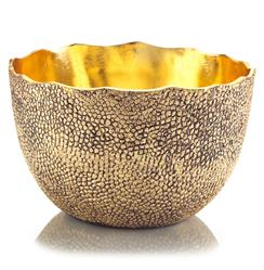 Cecile Hollywood Regency Hammered Antique Gold Decorative Bowl | JR-JRA-9199