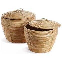 Calle Coastal Beach Brown Woven Rattan Cobra Baskets - Set of 2