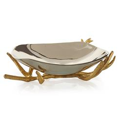 John-Richard Theron Hollywood Regency Gold Branches Silver Decorative Bowl