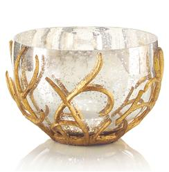 Mayron Hollywood Regency Gold Branches Silver Mercury Glass  Bowl