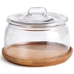 Adrian Rustic Lodge Glass Cloche Wood Tray | Kathy Kuo Home