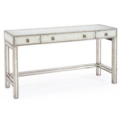 John-Richard Joelle Hollywood Regency Silver Leaf Mirror 3 Drawer Vanity Table Desk