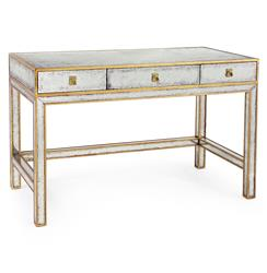 John-Richard Sorvino Hollywood Regency Silver Leaf Mirror Gold 3 Drawer Writing Small Desk