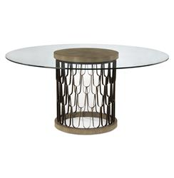 John-Richard Pablo Global Bazaar Gold Faux Shagreen Glass Black Round Dining Table