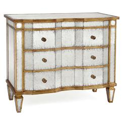 Aubrey Hollywood Regency Silver Leaf Mirror Chest Dresser - Gold Trim