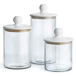 Penny French Country Glass Canisters - Set of 3