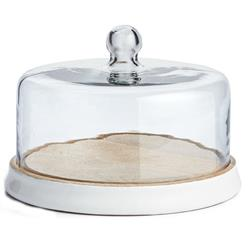 Penny French Country Glass Cloche White Wooden Tray