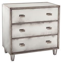 Selena Hollywood Regency Antique Mirror Silver 3 Drawer Nightstand