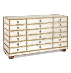Vienna Hollywood Regency Silver Leaf Mirror Gold 12 Drawer Dresser