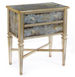 John-Richard Arezzo Hollywood Regency Antique Champagne Silver Painted Glass Nightstand