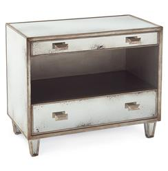 John-Richard Selena Hollywood Regency Antique Mirror Silver 2 Drawer Open Nightstand