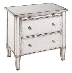 John-Richard Katelyn Hollywood Regency Silver Leaf Mirror 2 Drawer Nightstand