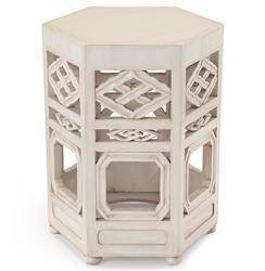 Deshi Global Bazaar Chinese White Wood Pierced Tea Side End Table | JR-EUR-08-0039