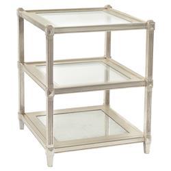 John-Richard Norrine Hollywood Regency Antique Silver Leaf Mirror Glass 3 Tier End Table