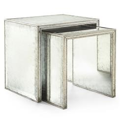 Jasmine Hollywood Regency Silver Leaf Mirror Nesting Side End Table - Set of 2