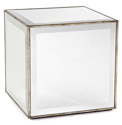 Milly Hollywood Regency Mirror Antique Silver Leaf Cube Side End Table
