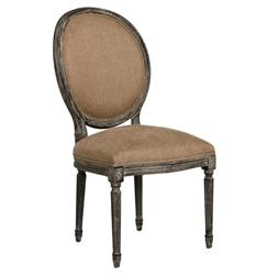 Pair Madeleine French Country Oval Copper Linen Limed Oak Dining Chair | ZEN-B004-E271-A006