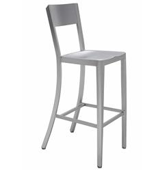 Wooster Industrial Style Silver Aluminum Barstool