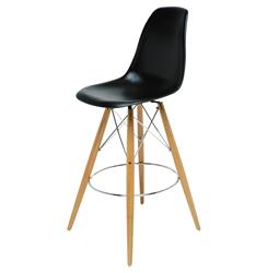Eiffel Reproduction Black Plastic Oak Wood Mid Century Counter Stool - Pair
