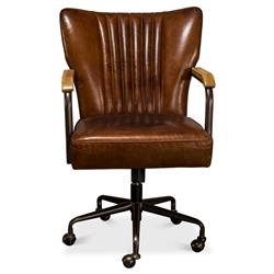 Eleanor Mid Century Modern Brown Leather Metal Base Swivel Office Chair