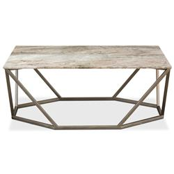 Ava Modern Classic Beige Marble Silver Base Trapeziod Rectangular Coffee Table
