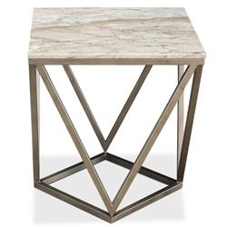 Ava Modern Classic Beige Marble Silver Base Trapeziod Side Table