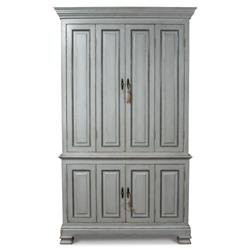 Vivienne French Country Grey Solid Pine Double Hinged Door Bookcase