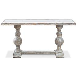 Monique French Country White Porcelain Top Wood Base Console Table