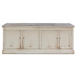 Bree Coastal Beach White Marble 4 Door Recycled Pine Sideboard