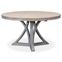 Therese French Country Distressed Grey Pine Round Dining Table - 54D