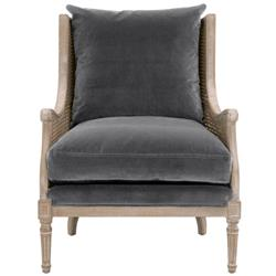 Beau French Country Grey Velvet Cane Rattan Frame Wing Chair