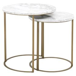 Benedict Modern Classic Gold Marble Round Nesting Coffee Table