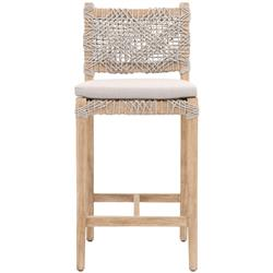 Kristoffer Coastal Beach Woven Rope Natural Brown Mahogany Counter Stool