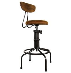 Brexton Industrial Loft Adjustable Oak Leather Cushion Counter Bar Stool
