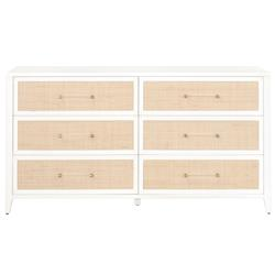 Steven Coastal Beach Natural Rattan White Frame 6 Drawer Dresser