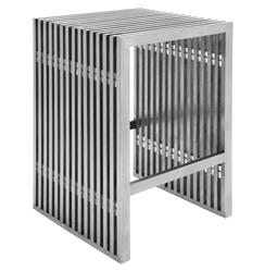 Holden Industrial Loft Stainless Steel Slatted Modern Counter Stool