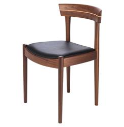 Connor Mid Century Modern Walnut Black Leather Dining Chair - Pair