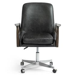 Jaden Mid Century Modern Black Leather Office Chair